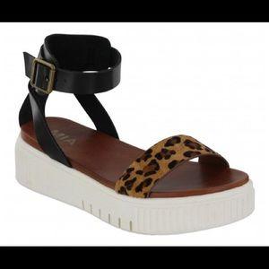 MIA Lunna L Leopard Print Flatform Sandals